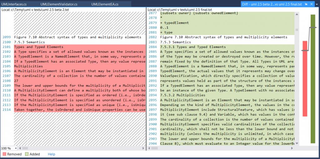 Porovnání verzí UML